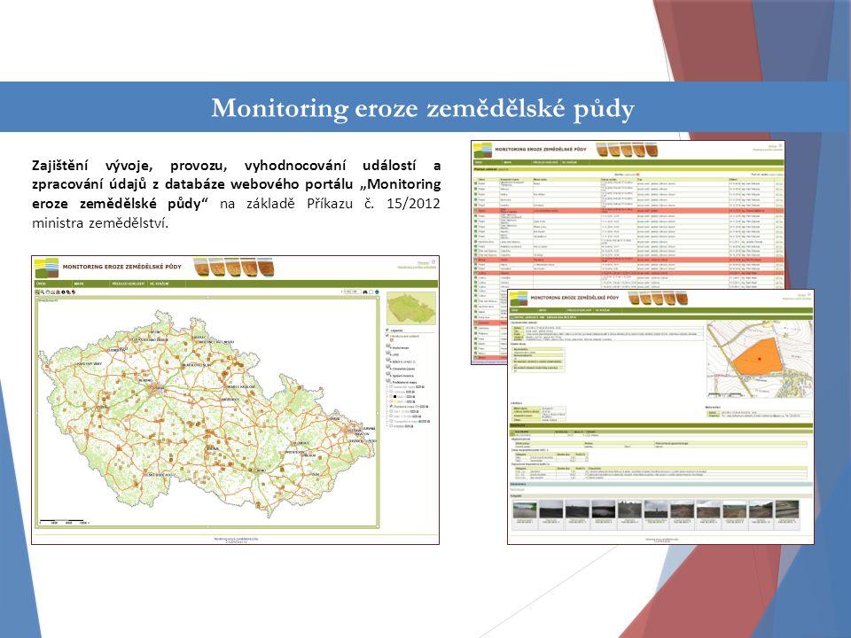"""Činnost oddělení Zajištění vývoje, provozu, vyhodnocování událostí a zpracování údajů z databáze webového portálu """"Monitoring eroze zemědělské půdy na základě Příkazu č."""