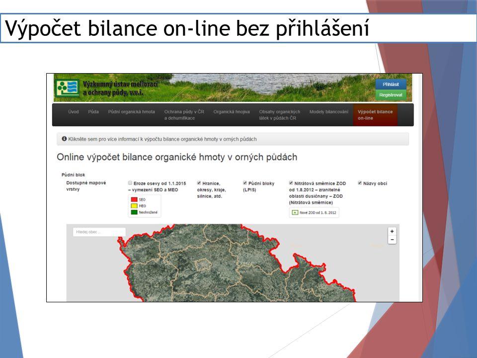 Výpočet bilance on-line bez přihlášení