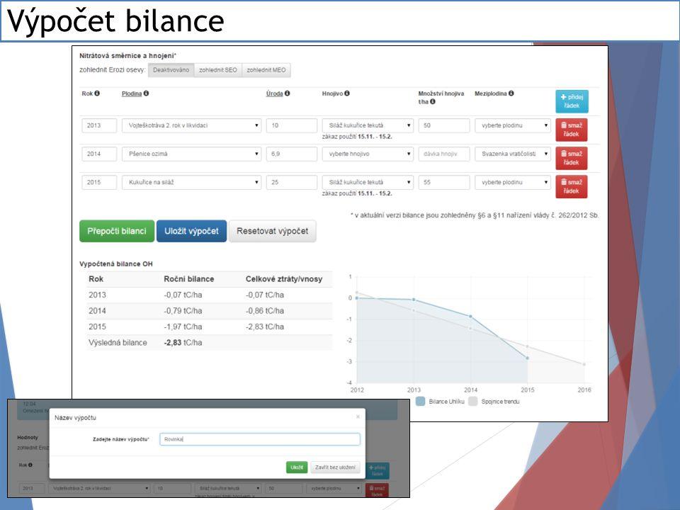Výpočet bilance