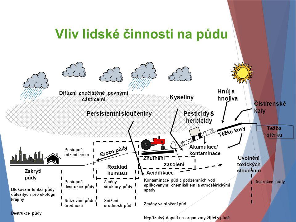 Vliv lidské činnosti na půdu Blokování funkcí půdy důležitých pro ekologii krajiny Destrukce půdy Postupná destrukce půdy Snižování půdní úrodnosti Eroze půdy Hnůj a hnojiva Čistírenské kaly Těžba štěrku Zhutnění Postupné mizení farem Pesticidy & herbicidy Destrukce půdy Změny struktury půdy Snížení úrodnosti půd Zakrytí půdy Rozklad humusu Akumulace/ kontaminace Těžké kovy Kontaminace půd a podzemních vod aplikovanými chemikáliemi a atmosférickými spady Změny ve složení půd Nepříznivý dopad na organizmy žijící v půdě Acidifikace Uvolnění toxických sloučenin Kyseliny Difúzní znečištěné pevnými částicemi Persistentní sloučeniny zasolení