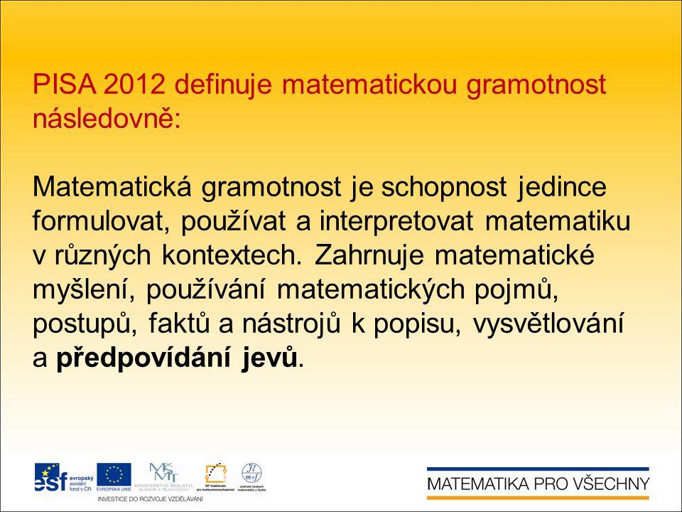 PISA 2012 definuje matematickou gramotnost následovně: Matematická gramotnost je schopnost jedince formulovat, používat a interpretovat matematiku v různých kontextech.