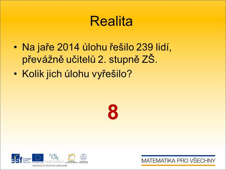 Realita Na jaře 2014 úlohu řešilo 239 lidí, převážně učitelů 2.
