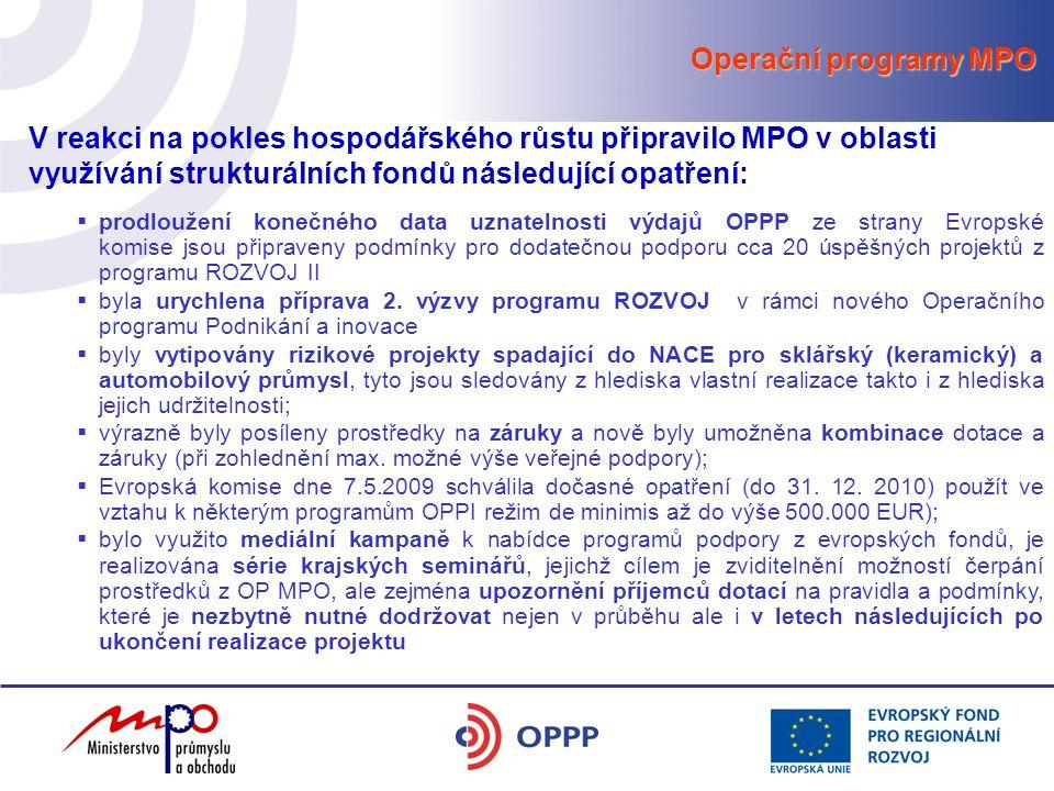 Operační programy MPO V reakci na pokles hospodářského růstu připravilo MPO v oblasti využívání strukturálních fondů následující opatření:  prodloužení konečného data uznatelnosti výdajů OPPP ze strany Evropské komise jsou připraveny podmínky pro dodatečnou podporu cca 20 úspěšných projektů z programu ROZVOJ II  byla urychlena příprava 2.
