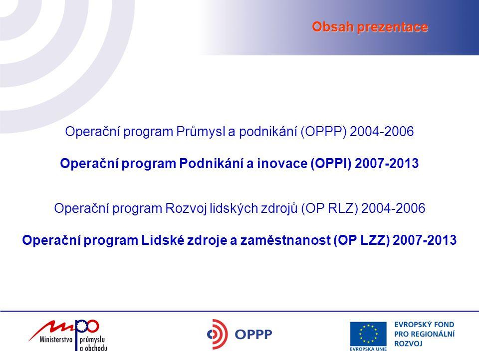 Obsah prezentace Operační program Průmysl a podnikání (OPPP) 2004-2006 Operační program Podnikání a inovace (OPPI) 2007-2013 Operační program Rozvoj lidských zdrojů (OP RLZ) 2004-2006 Operační program Lidské zdroje a zaměstnanost (OP LZZ) 2007-2013
