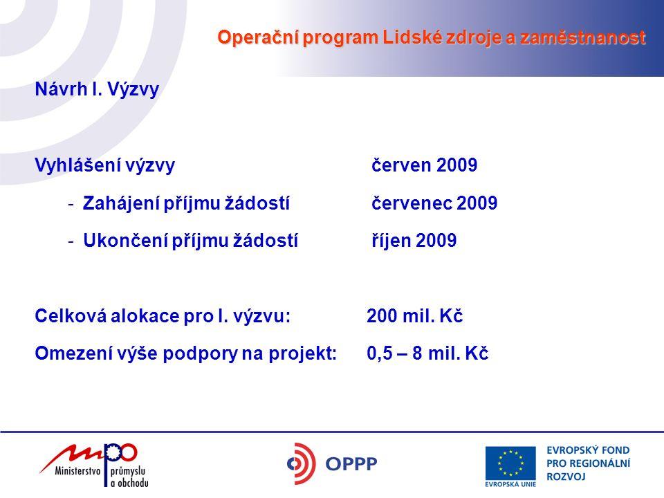 Operační program Lidské zdroje a zaměstnanost Návrh I. Výzvy Vyhlášení výzvy červen 2009 -Zahájení příjmu žádostí červenec 2009 -Ukončení příjmu žádos