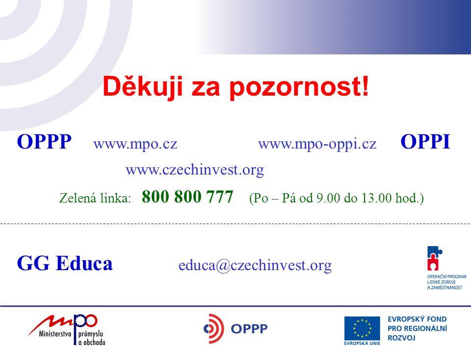 OPPP www.mpo.cz www.mpo-oppi.cz OPPI www.czechinvest.org Zelená linka: 800 800 777 (Po – Pá od 9.00 do 13.00 hod.) Děkuji za pozornost! GG Educa educa