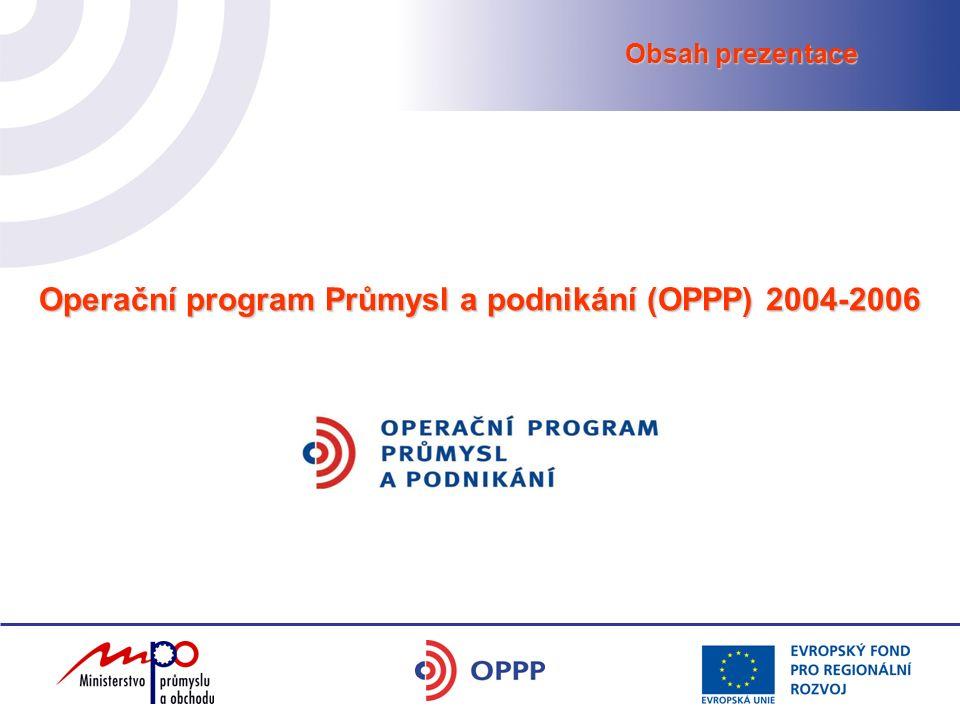 Operační program Průmysl a podnikání (OPPP) 2004-2006 Obsah prezentace