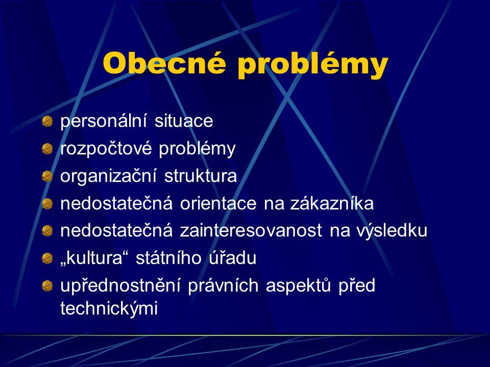 """Obecné problémy personální situace rozpočtové problémy organizační struktura nedostatečná orientace na zákazníka nedostatečná zainteresovanost na výsledku """"kultura státního úřadu upřednostnění právních aspektů před technickými"""
