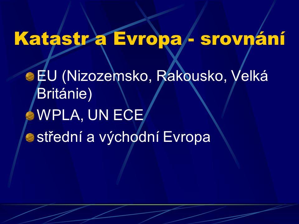 Katastr a Evropa - srovnání EU (Nizozemsko, Rakousko, Velká Británie) WPLA, UN ECE střední a východní Evropa