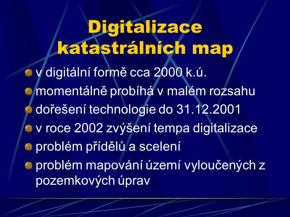 Digitalizace katastrálních map v digitální formě cca 2000 k.ú.