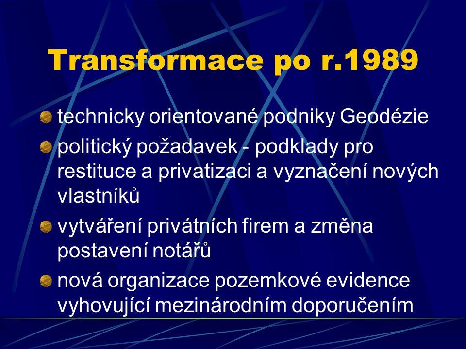 Transformace po r.1989 technicky orientované podniky Geodézie politický požadavek - podklady pro restituce a privatizaci a vyznačení nových vlastníků vytváření privátních firem a změna postavení notářů nová organizace pozemkové evidence vyhovující mezinárodním doporučením