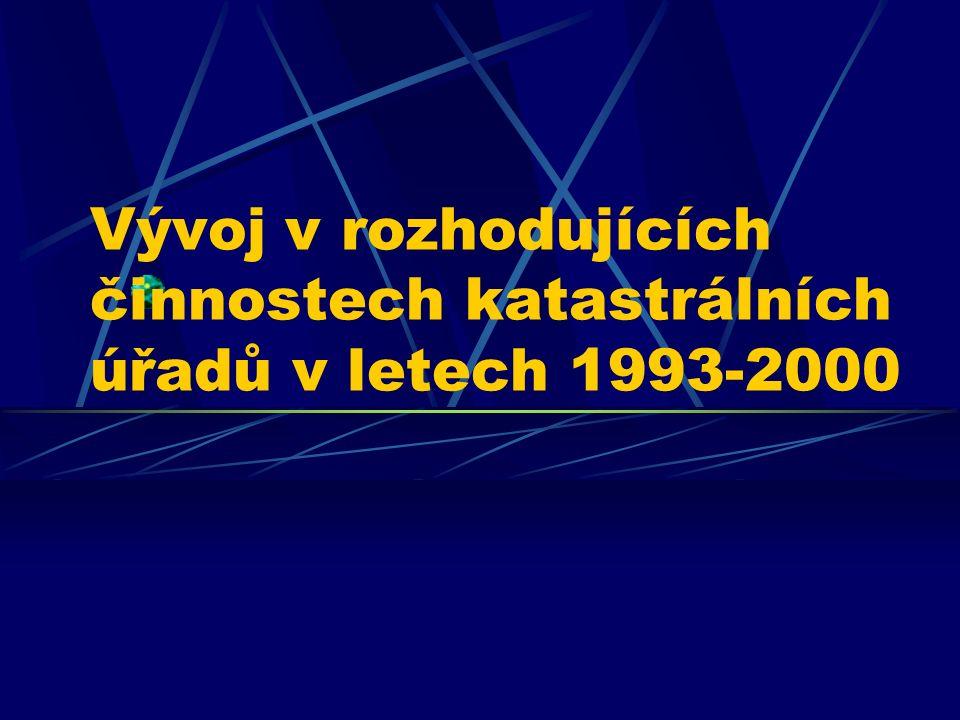 Vývoj v rozhodujících činnostech katastrálních úřadů v letech 1993-2000
