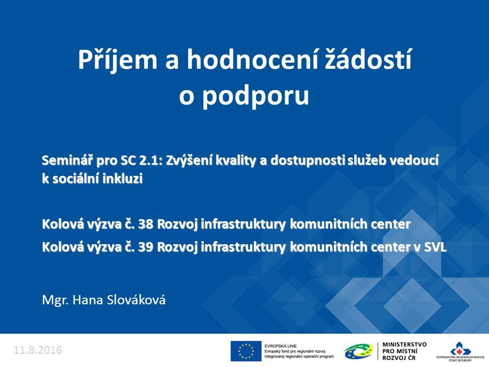 Příjem a hodnocení žádostí o podporu Mgr. Hana Slováková 11.8.2016 Seminář pro SC 2.1: Zvýšení kvality a dostupnosti služeb vedoucí k sociální inkluzi
