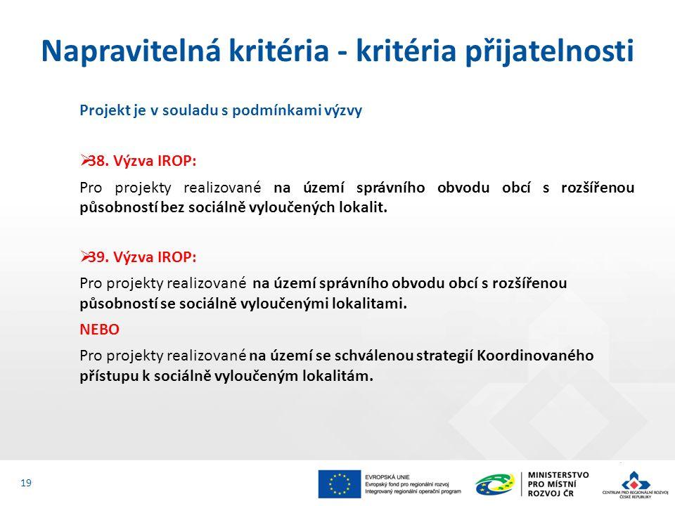 Projekt je v souladu s podmínkami výzvy  38. Výzva IROP: Pro projekty realizované na území správního obvodu obcí s rozšířenou působností bez sociálně