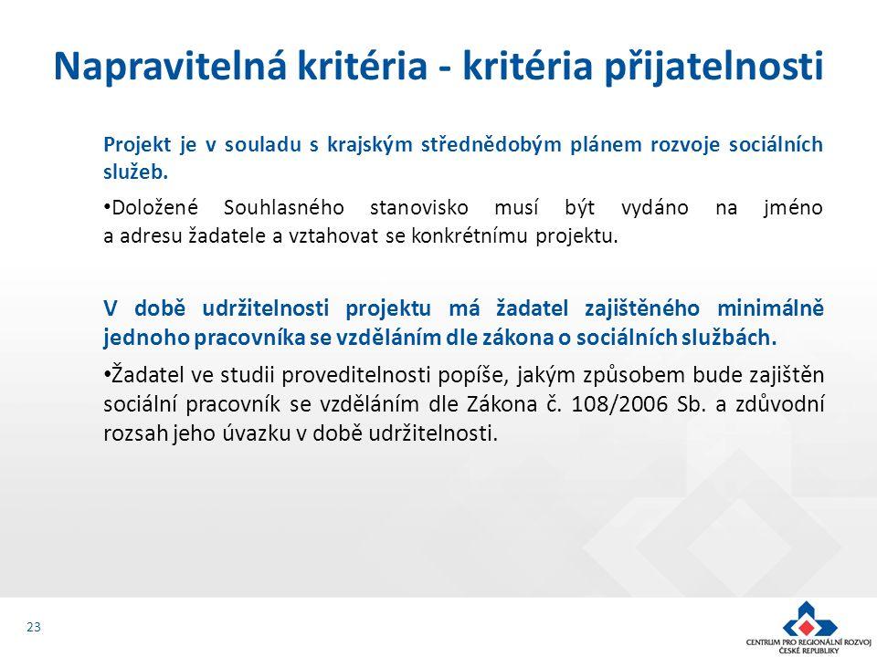 Projekt je v souladu s krajským střednědobým plánem rozvoje sociálních služeb. Doložené Souhlasného stanovisko musí být vydáno na jméno a adresu žadat