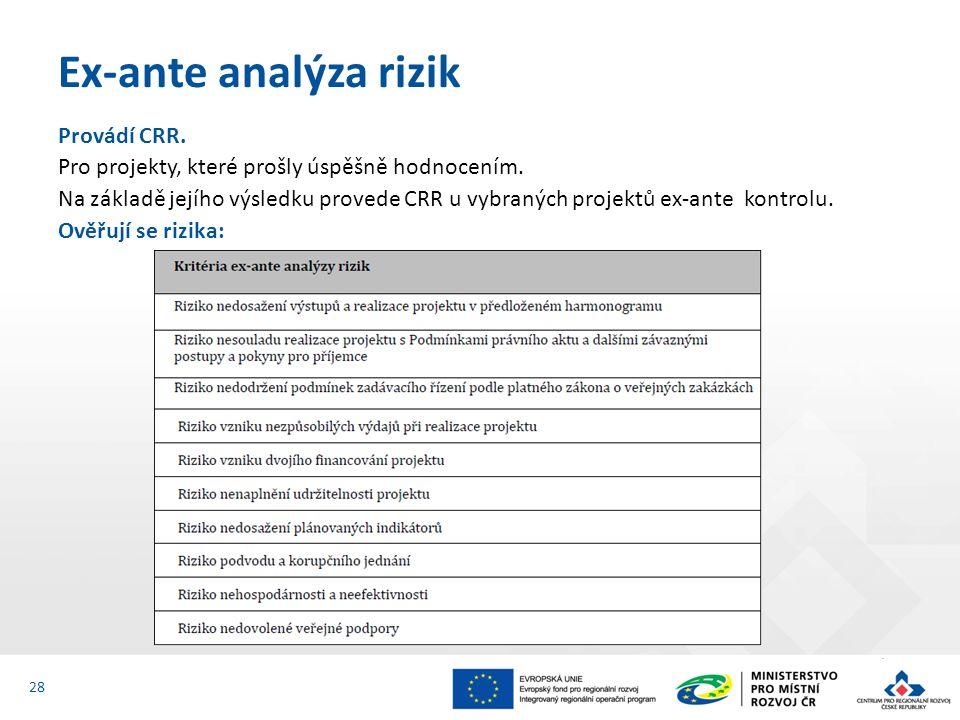 Provádí CRR. Pro projekty, které prošly úspěšně hodnocením. Na základě jejího výsledku provede CRR u vybraných projektů ex-ante kontrolu. Ověřují se r