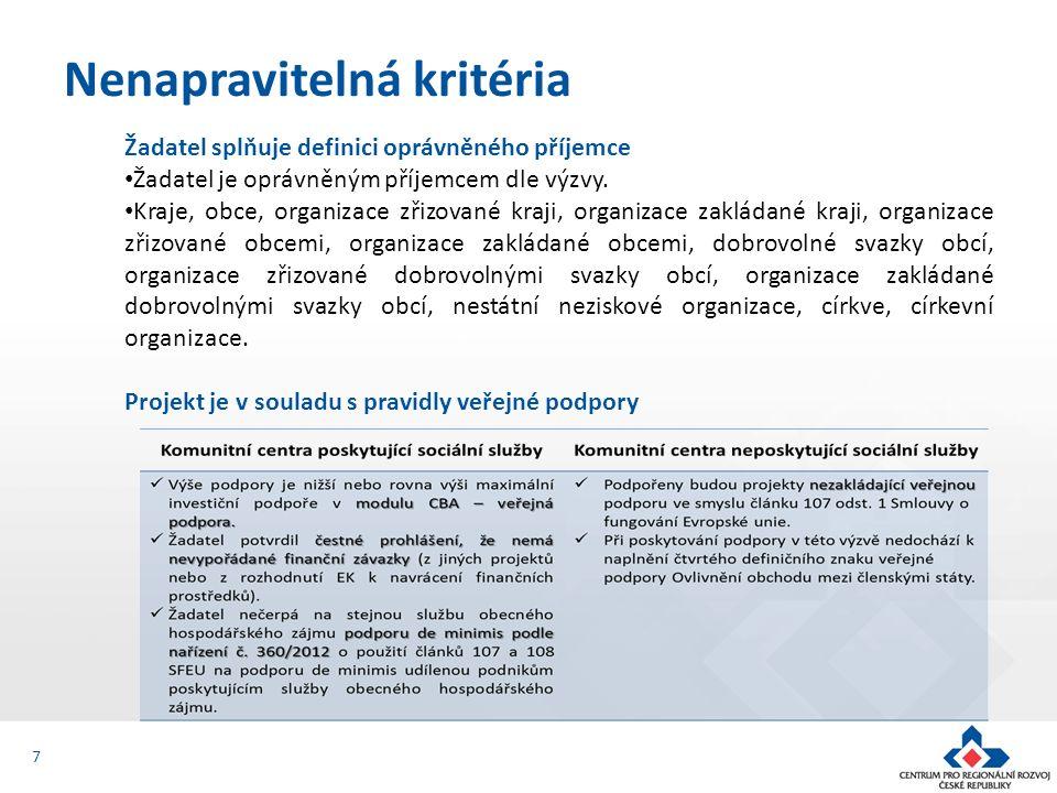 Žadatel splňuje definici oprávněného příjemce Žadatel je oprávněným příjemcem dle výzvy. Kraje, obce, organizace zřizované kraji, organizace zakládané
