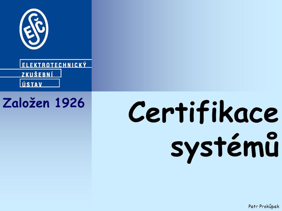 Založen 1926 Petr Prokůpek Certifikace systémů