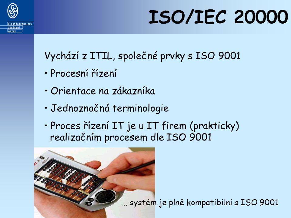 ISO/IEC 20000 Vychází z ITIL, společné prvky s ISO 9001 Procesní řízení Orientace na zákazníka Jednoznačná terminologie Proces řízení IT je u IT firem (prakticky) realizačním procesem dle ISO 9001 … systém je plně kompatibilní s ISO 9001