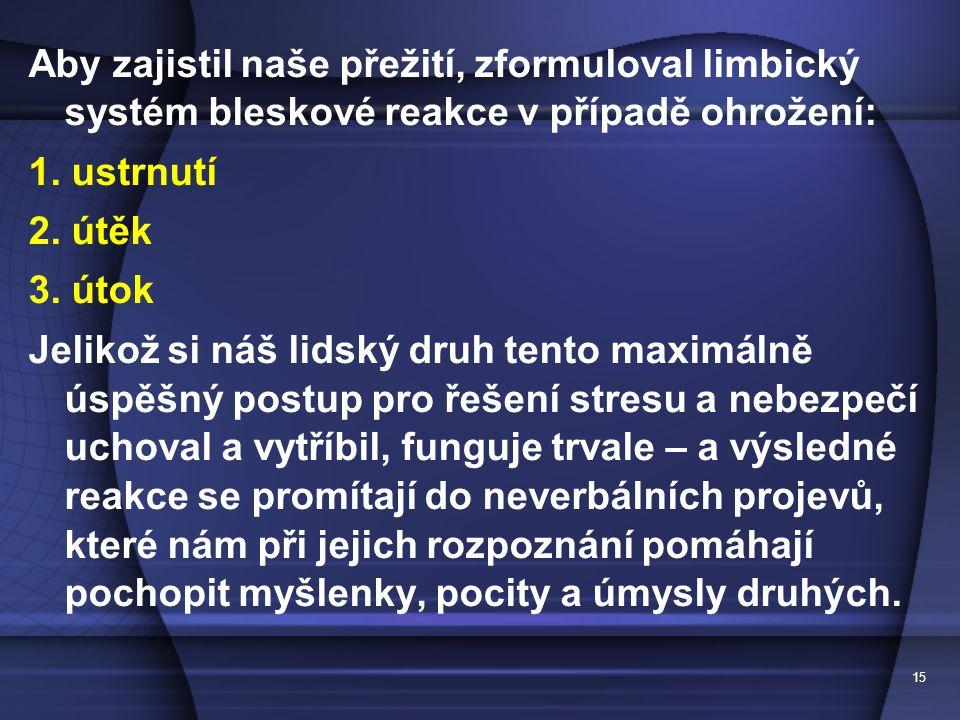 15 Aby zajistil naše přežití, zformuloval limbický systém bleskové reakce v případě ohrožení: 1. ustrnutí 2. útěk 3. útok Jelikož si náš lidský druh t