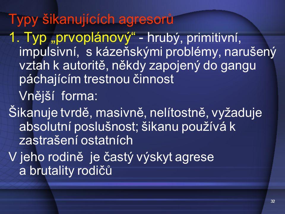 """32 Typy šikanujících agresorů 1. Typ """"prvoplánový"""" - h rubý, primitivní, impulsivní, s kázeňskými problémy, narušený vztah k autoritě, někdy zapojený"""