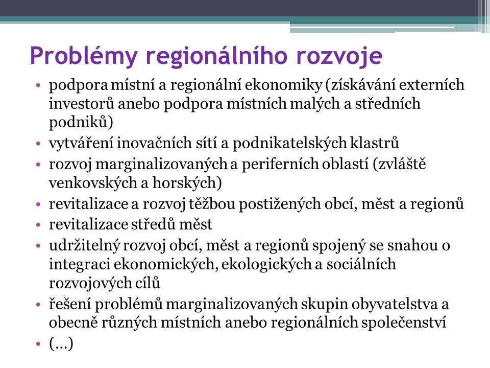 Problémy regionálního rozvoje podpora místní a regionální ekonomiky (získávání externích investorů anebo podpora místních malých a středních podniků) vytváření inovačních sítí a podnikatelských klastrů rozvoj marginalizovaných a periferních oblastí (zvláště venkovských a horských) revitalizace a rozvoj těžbou postižených obcí, měst a regionů revitalizace středů měst udržitelný rozvoj obcí, měst a regionů spojený se snahou o integraci ekonomických, ekologických a sociálních rozvojových cílů řešení problémů marginalizovaných skupin obyvatelstva a obecně různých místních anebo regionálních společenství (…)