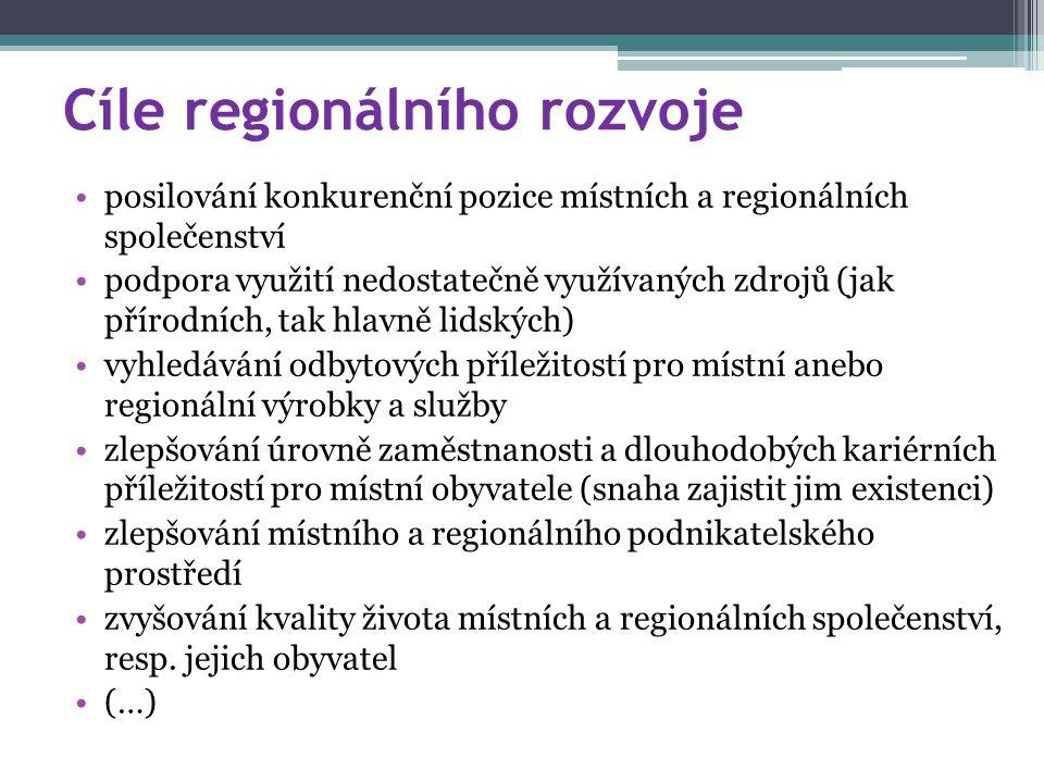 Cíle regionálního rozvoje posilování konkurenční pozice místních a regionálních společenství podpora využití nedostatečně využívaných zdrojů (jak přírodních, tak hlavně lidských) vyhledávání odbytových příležitostí pro místní anebo regionální výrobky a služby zlepšování úrovně zaměstnanosti a dlouhodobých kariérních příležitostí pro místní obyvatele (snaha zajistit jim existenci) zlepšování místního a regionálního podnikatelského prostředí zvyšování kvality života místních a regionálních společenství, resp.