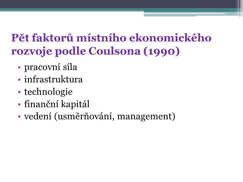 Pět faktorů místního ekonomického rozvoje podle Coulsona (1990) pracovní síla infrastruktura technologie finanční kapitál vedení (usměrňování, managem