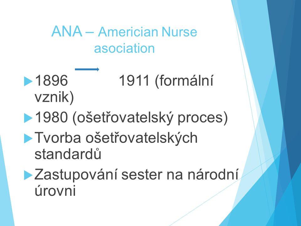 ANA – Americian Nurse asociation  1896 1911 (formální vznik)  1980 (ošetřovatelský proces)  Tvorba ošetřovatelských standardů  Zastupování sester na národní úrovni