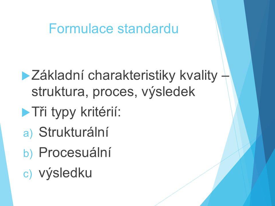 Formulace standardu  Základní charakteristiky kvality – struktura, proces, výsledek  Tři typy kritérií: a) Strukturální b) Procesuální c) výsledku