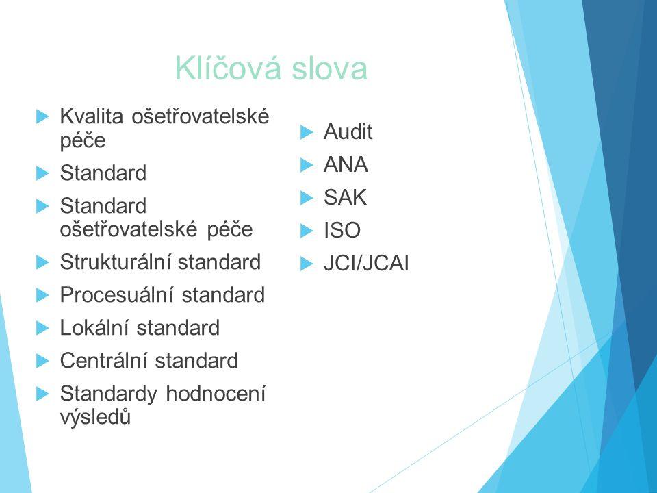 Klíčová slova  Kvalita ošetřovatelské péče  Standard  Standard ošetřovatelské péče  Strukturální standard  Procesuální standard  Lokální standard  Centrální standard  Standardy hodnocení výsledů  Audit  ANA  SAK  ISO  JCI/JCAI