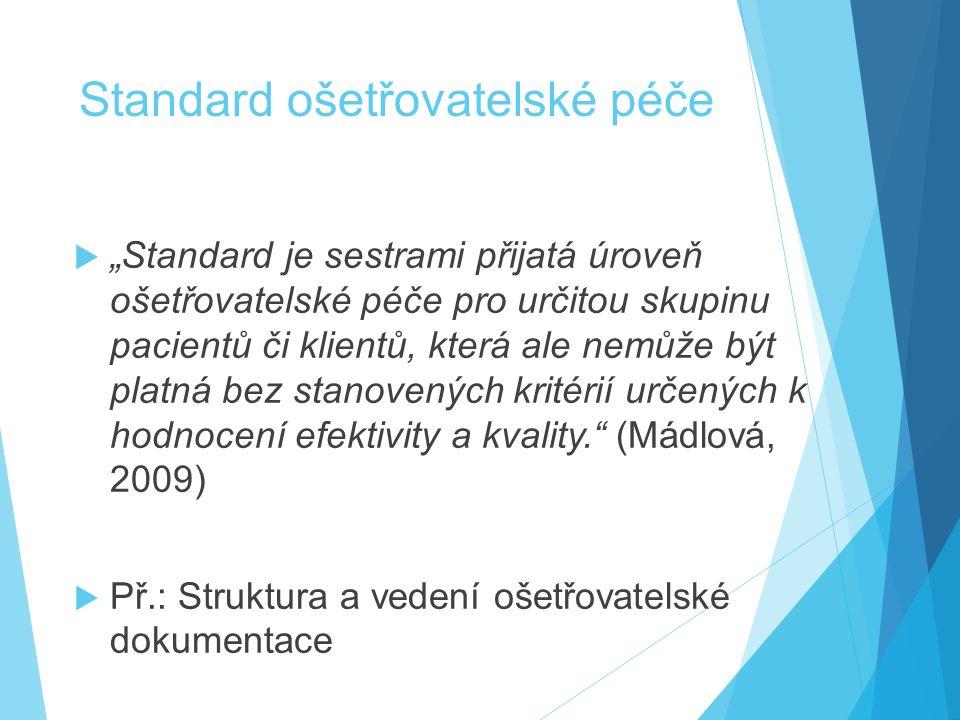 """Standard ošetřovatelské péče  """"Standard je sestrami přijatá úroveň ošetřovatelské péče pro určitou skupinu pacientů či klientů, která ale nemůže být platná bez stanovených kritérií určených k hodnocení efektivity a kvality. (Mádlová, 2009)  Př.: Struktura a vedení ošetřovatelské dokumentace"""