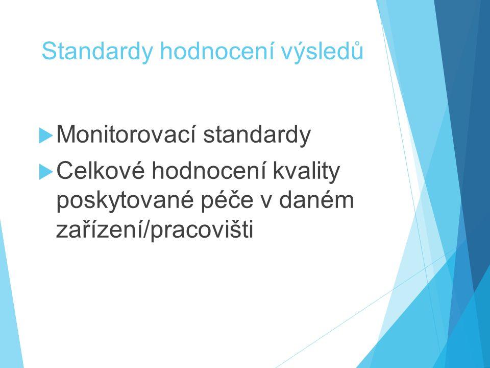Standardy hodnocení výsledů  Monitorovací standardy  Celkové hodnocení kvality poskytované péče v daném zařízení/pracovišti