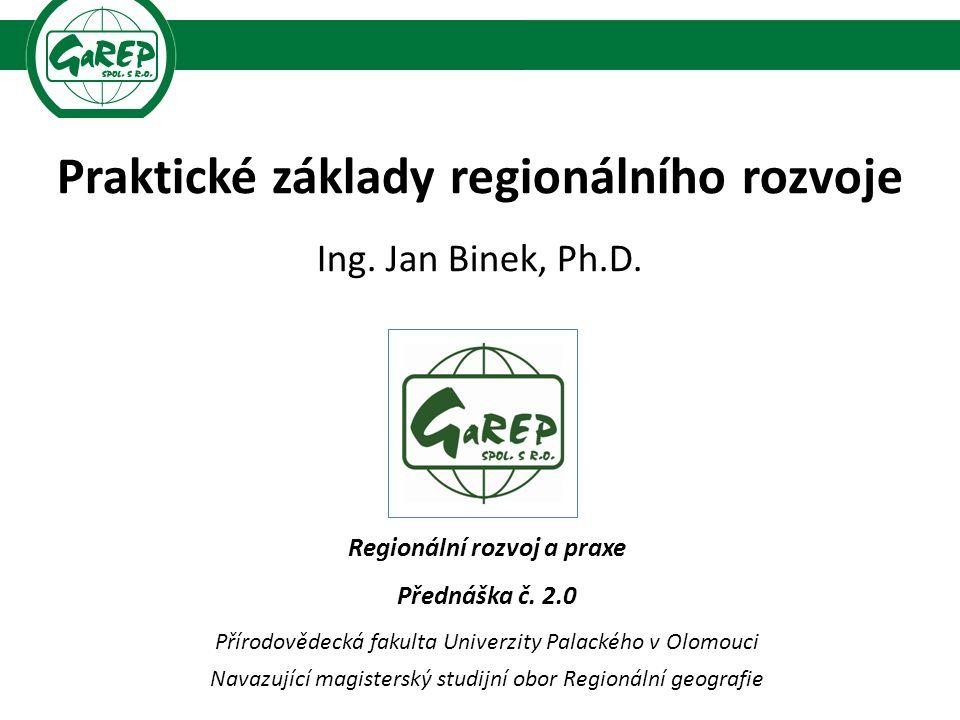 Praktické základy regionálního rozvoje Ing. Jan Binek, Ph.D.