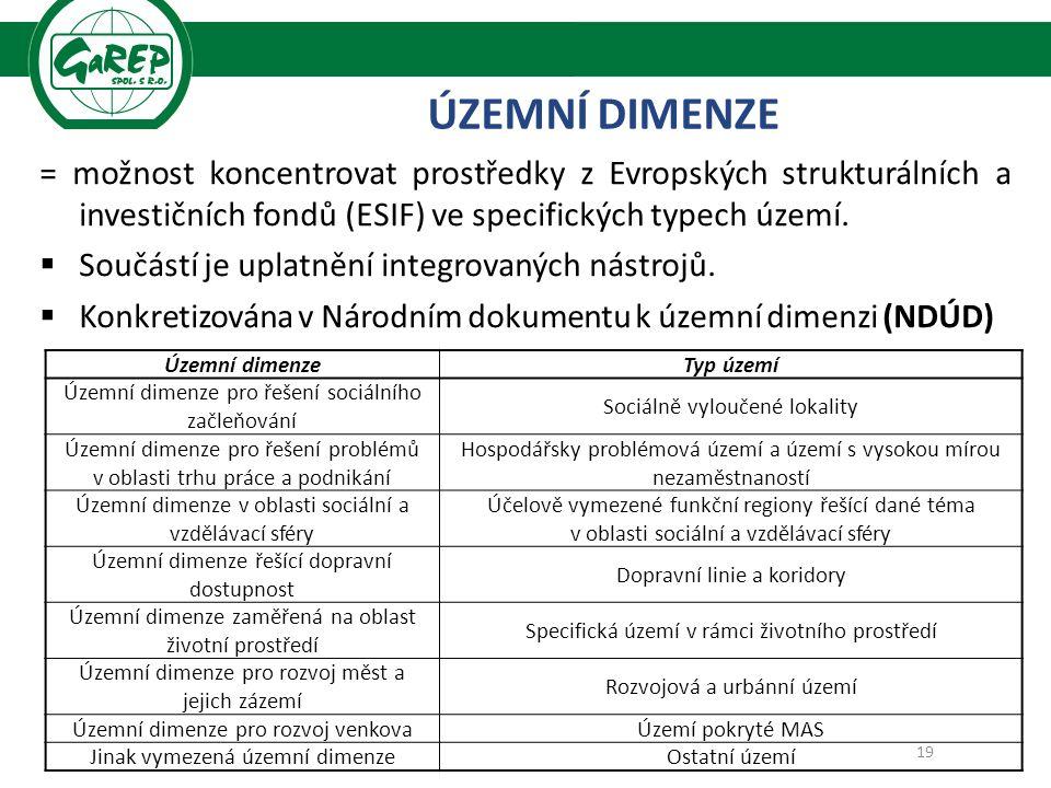 = možnost koncentrovat prostředky z Evropských strukturálních a investičních fondů (ESIF) ve specifických typech území.
