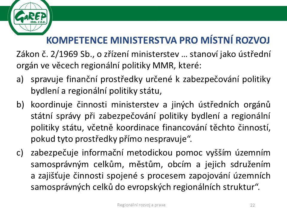 KOMPETENCE MINISTERSTVA PRO MÍSTNÍ ROZVOJ Zákon č.