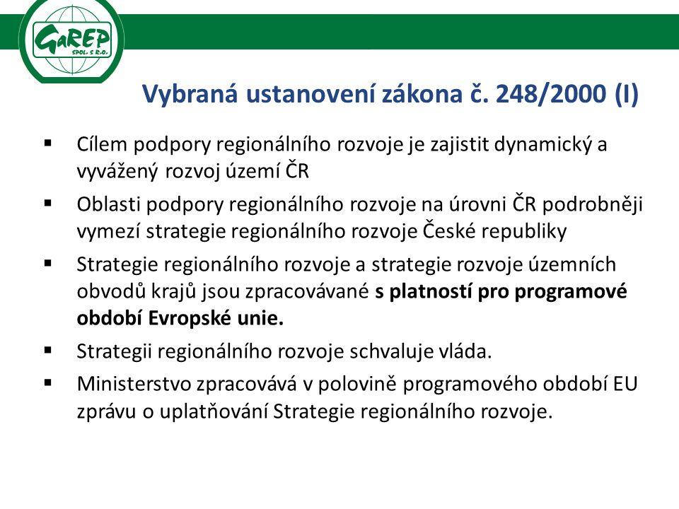  Cílem podpory regionálního rozvoje je zajistit dynamický a vyvážený rozvoj území ČR  Oblasti podpory regionálního rozvoje na úrovni ČR podrobněji vymezí strategie regionálního rozvoje České republiky  Strategie regionálního rozvoje a strategie rozvoje územních obvodů krajů jsou zpracovávané s platností pro programové období Evropské unie.