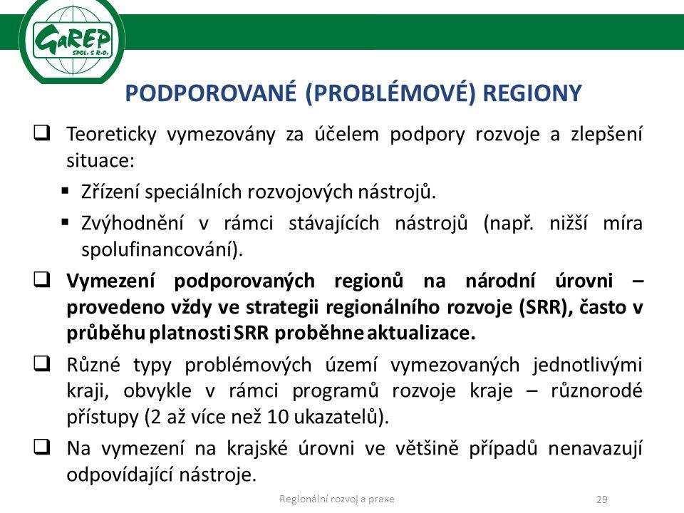 PODPOROVANÉ (PROBLÉMOVÉ) REGIONY  Teoreticky vymezovány za účelem podpory rozvoje a zlepšení situace:  Zřízení speciálních rozvojových nástrojů.