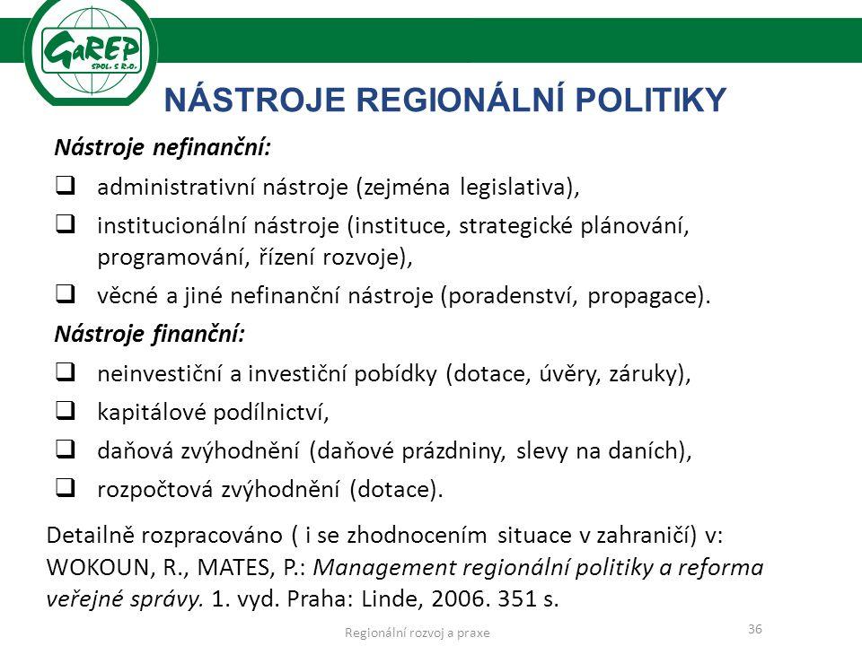 NÁSTROJE REGIONÁLNÍ POLITIKY Nástroje nefinanční:  administrativní nástroje (zejména legislativa),  institucionální nástroje (instituce, strategické plánování, programování, řízení rozvoje),  věcné a jiné nefinanční nástroje (poradenství, propagace).