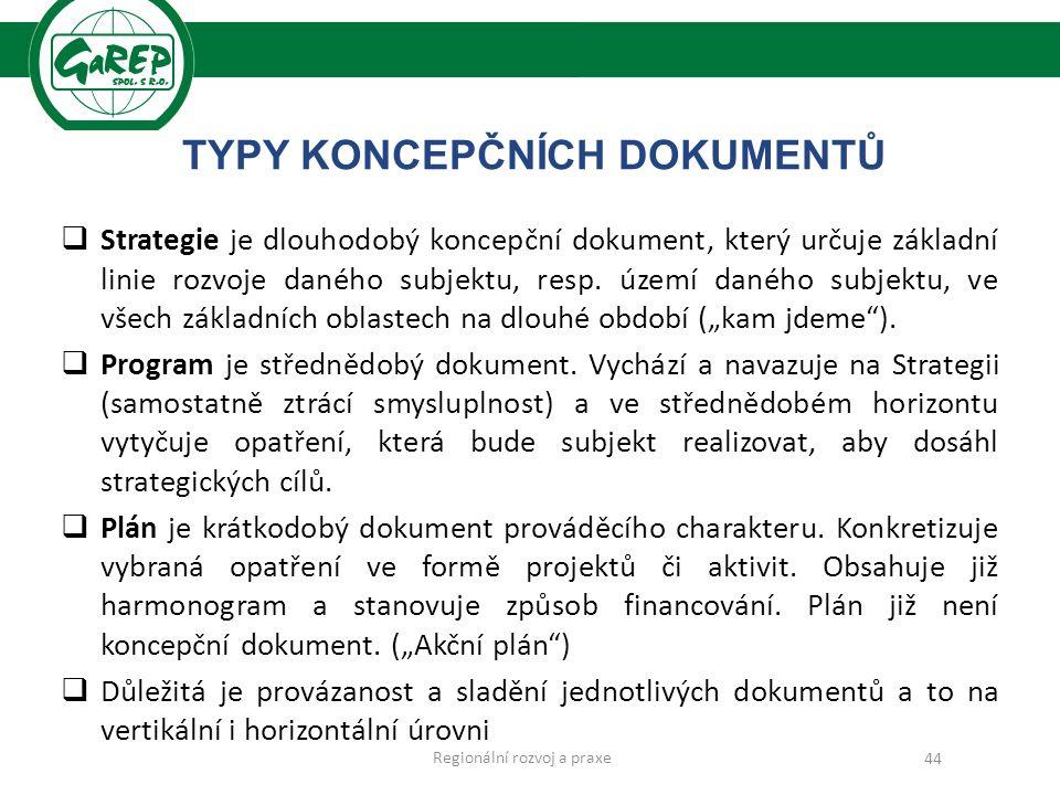 TYPY KONCEPČNÍCH DOKUMENTŮ  Strategie je dlouhodobý koncepční dokument, který určuje základní linie rozvoje daného subjektu, resp.