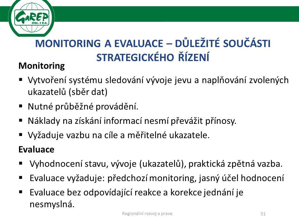 MONITORING A EVALUACE – DŮLEŽITÉ SOUČÁSTI STRATEGICKÉHO ŘÍZENÍ Monitoring  Vytvoření systému sledování vývoje jevu a naplňování zvolených ukazatelů (sběr dat)  Nutné průběžné provádění.