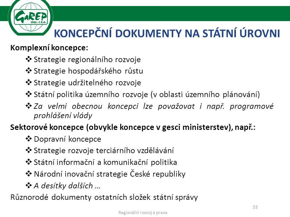 KONCEPČNÍ DOKUMENTY NA STÁTNÍ ÚROVNI Komplexní koncepce:  Strategie regionálního rozvoje  Strategie hospodářského růstu  Strategie udržitelného rozvoje  Státní politika územního rozvoje (v oblasti územního plánování)  Za velmi obecnou koncepci lze považovat i např.