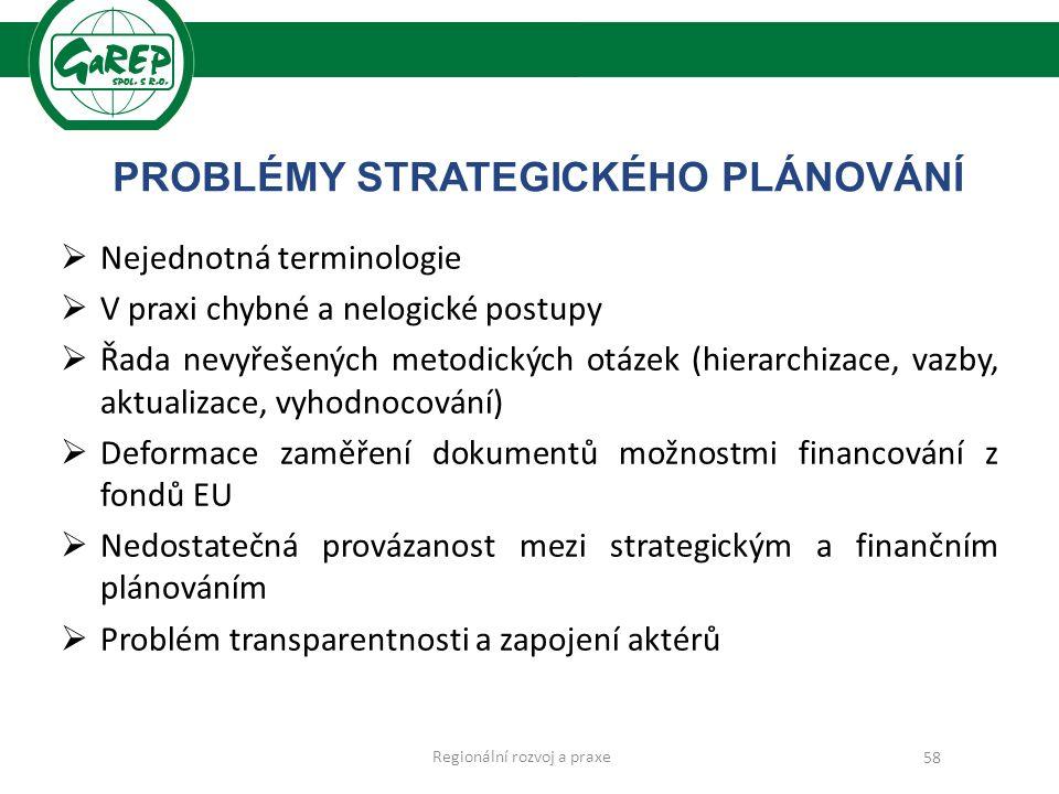 PROBLÉMY STRATEGICKÉHO PLÁNOVÁNÍ  Nejednotná terminologie  V praxi chybné a nelogické postupy  Řada nevyřešených metodických otázek (hierarchizace, vazby, aktualizace, vyhodnocování)  Deformace zaměření dokumentů možnostmi financování z fondů EU  Nedostatečná provázanost mezi strategickým a finančním plánováním  Problém transparentnosti a zapojení aktérů 58 Regionální rozvoj a praxe