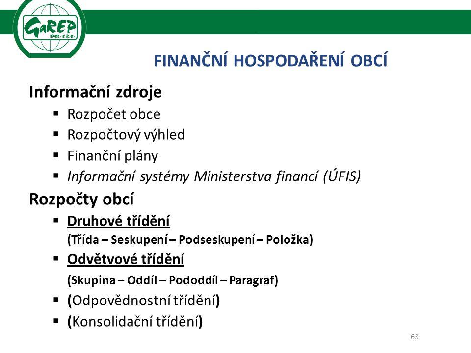 Informační zdroje  Rozpočet obce  Rozpočtový výhled  Finanční plány  Informační systémy Ministerstva financí (ÚFIS) Rozpočty obcí  Druhové třídění (Třída – Seskupení – Podseskupení – Položka)  Odvětvové třídění (Skupina – Oddíl – Pododdíl – Paragraf)  (Odpovědnostní třídění)  (Konsolidační třídění) 63 FINANČNÍ HOSPODAŘENÍ OBCÍ