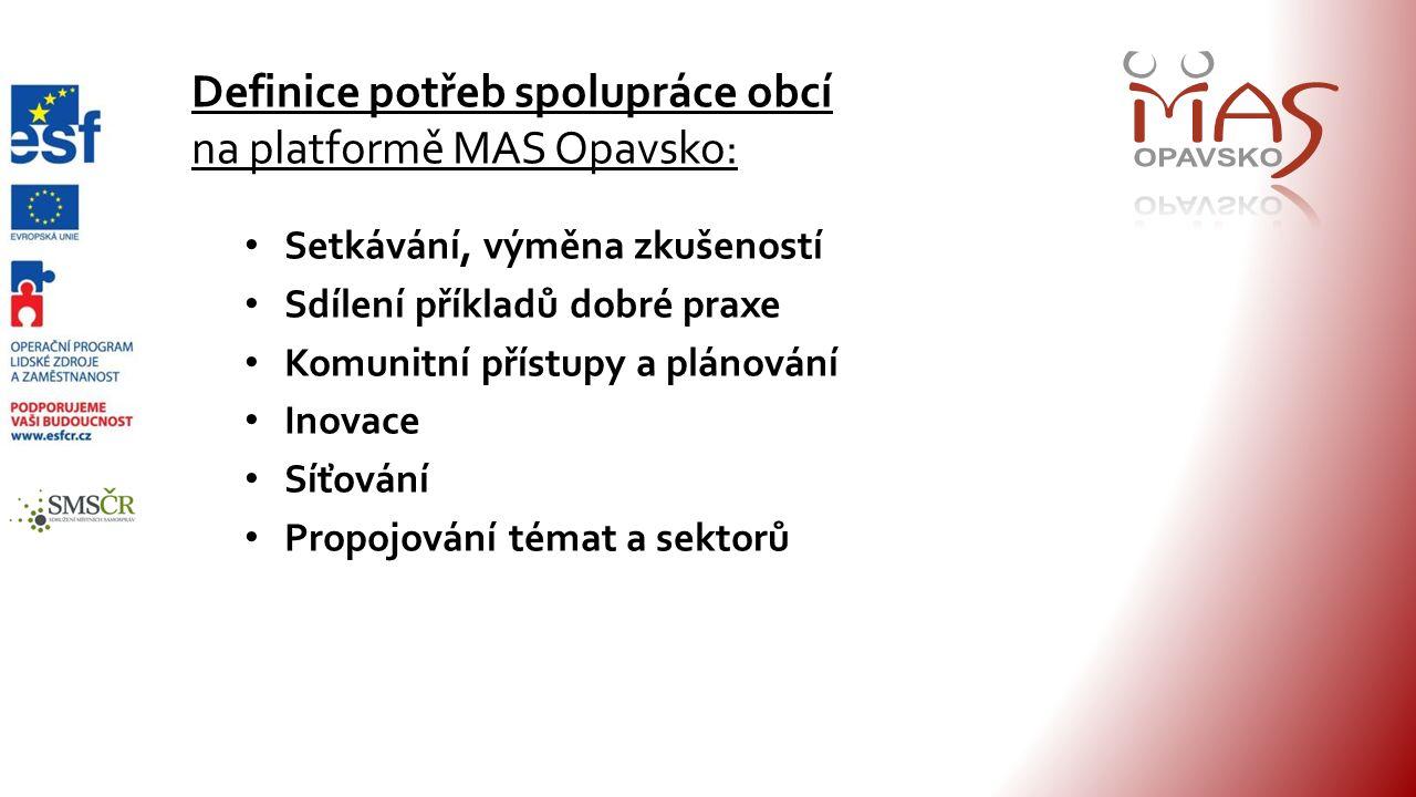 Definice potřeb spolupráce obcí na platformě MAS Opavsko: Setkávání, výměna zkušeností Sdílení příkladů dobré praxe Komunitní přístupy a plánování Inovace Síťování Propojování témat a sektorů