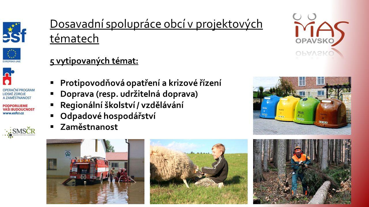 Dosavadní spolupráce obcí v projektových tématech 5 vytipovaných témat:  Protipovodňová opatření a krizové řízení  Doprava (resp.