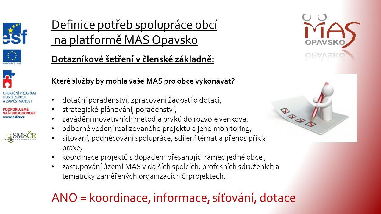 Definice potřeb spolupráce obcí na platformě MAS Opavsko Dotazníkové šetření v členské základně: Které služby by mohla vaše MAS pro obce vykonávat.