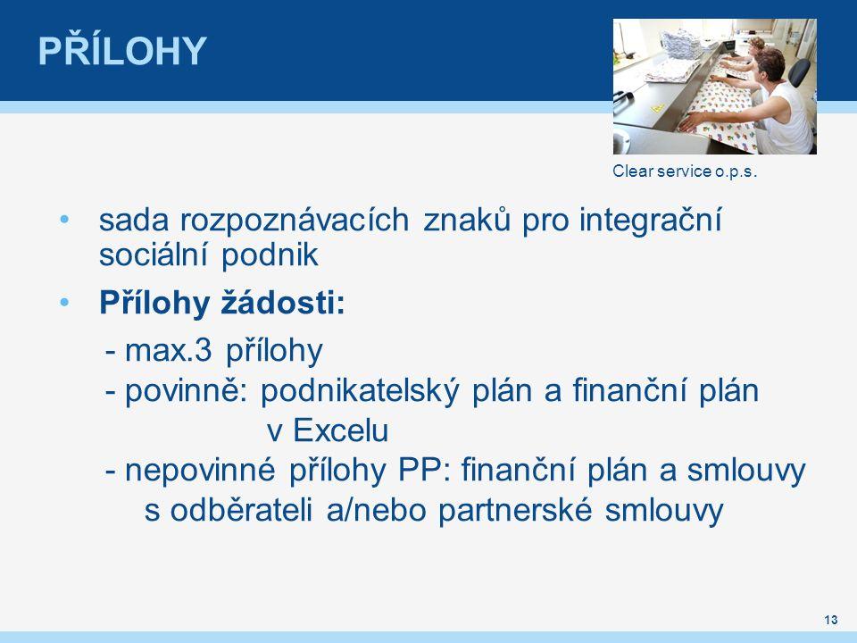 PŘÍLOHY sada rozpoznávacích znaků pro integrační sociální podnik Přílohy žádosti: - max.3 přílohy - povinně: podnikatelský plán a finanční plán v Excelu - nepovinné přílohy PP: finanční plán a smlouvy s odběrateli a/nebo partnerské smlouvy 13 Clear service o.p.s.