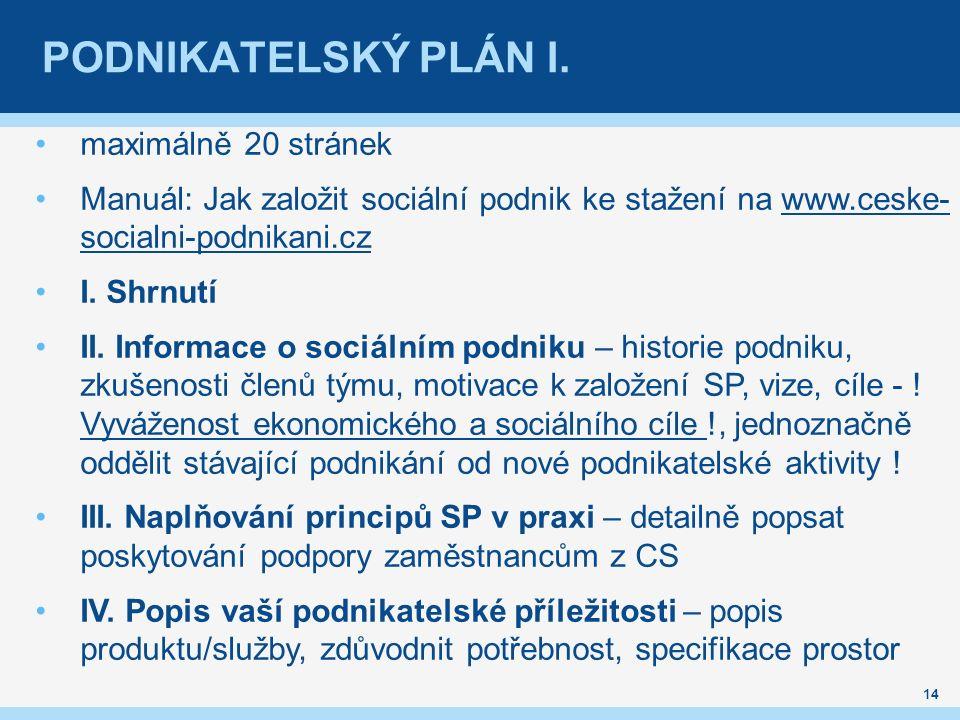 PODNIKATELSKÝ PLÁN I.