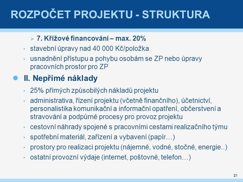 ROZPOČET PROJEKTU - STRUKTURA  7. Křížové financování – max.